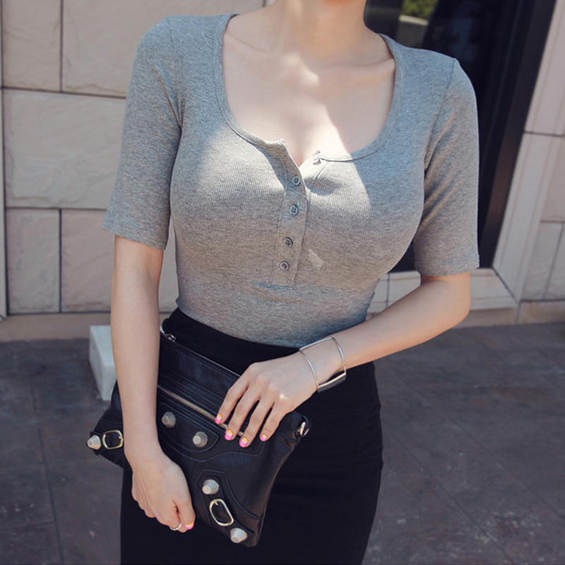 Camisetas Mujer Verano 2018 Summer Tops For Women Tees Korean Style Tshirt Women New Button   T  -  Shirt   Short Sleeve Debardeur Femme