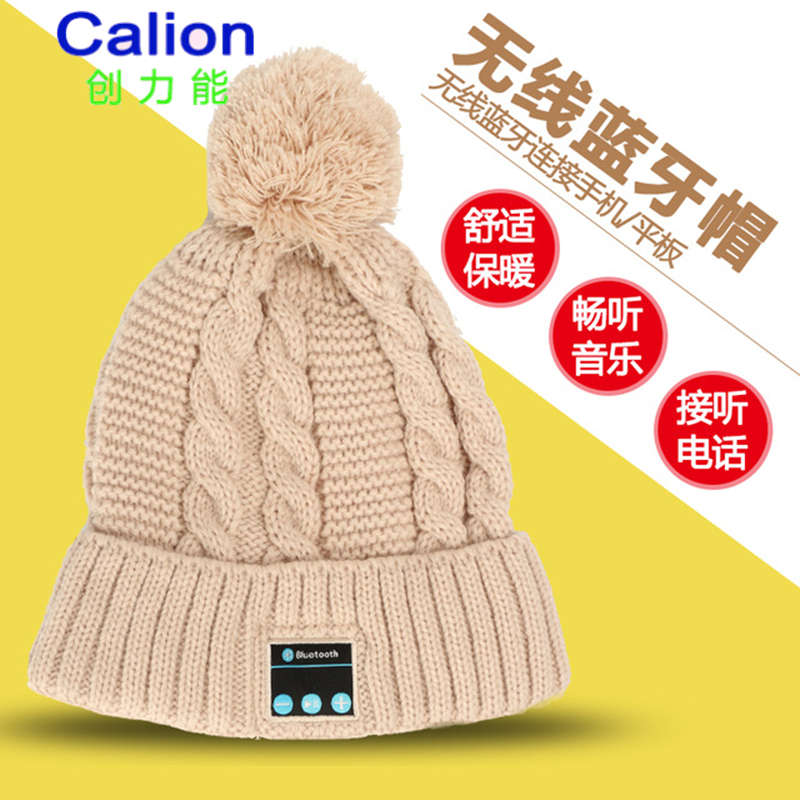 CALION wm2 Women Girls Gift Christmas Hat Built In Bluetooth Earphones Knitted Winter Ca ...