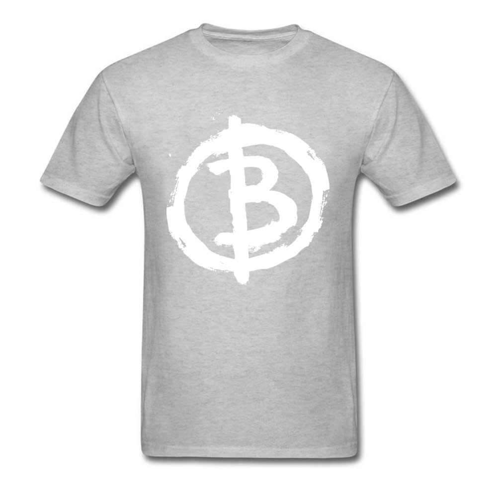 到着アナーキスト男性黒の Tシャツ、白文字 B プリント半袖トップス & Tシャツコットン服サイズ L