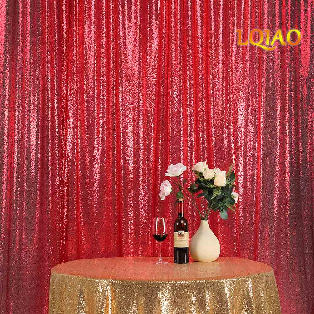 10FT*10FT Red Shimmer Sequin Fabric Backdrop Sequin Curtains Wedding Photo Booth Photography Backdrops for Party Decoration