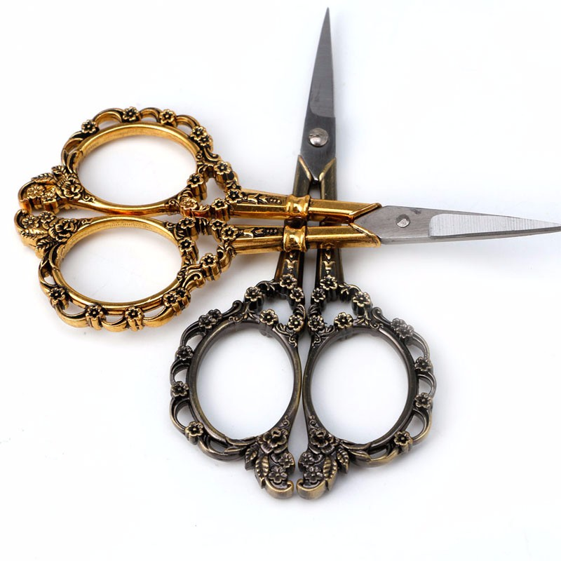 1PC Stainless Steel European Vintage Floral Scissors Stationery For Needlework Cutting Supplies Sewing Shears DIY Tools C26