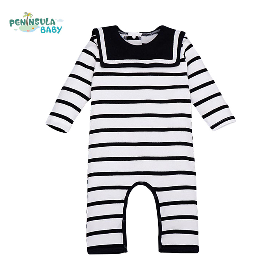 bd355c10076c Baby Boy Girl Rompers Clothes Navy Style Newborn Toddler Clothing Long  Sleeve Jumpsuit romper with bib recem nascido roupas
