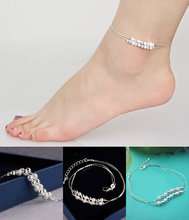 Cute Beaded Anklets Jewelry Sterling Matte Double Korean Fashion Small Fresh Foot Silver plated Charm Gift