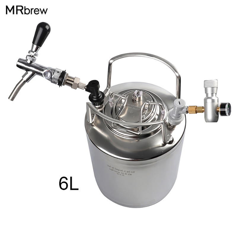 Stainless Steel 304 Ball Lock Cornelius 6L Beer Keg Adjustable Beer Tap Faucet Co2 Keg Charger
