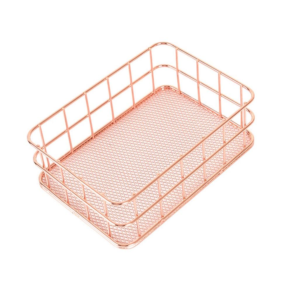 Нордическая корзина для хранения из розового золота сетчатая корзина винтажный офисный органайзер для фруктового стола Boite De Rangement Органайзер держатель Прямая - Цвет: 2