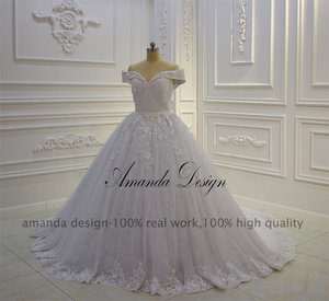 Image 2 - אמנדה עיצוב vestido casamento כבוי כתף תחרת Applique שמלת חתונה נוצצת
