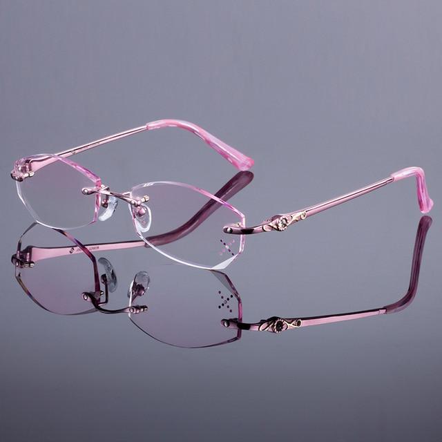 4b283b9adf Fancy Women Titanium Alloy Pink Glasses Frame Women Rimless Frame Diamond  Trimming Cut Rimless Glasses With