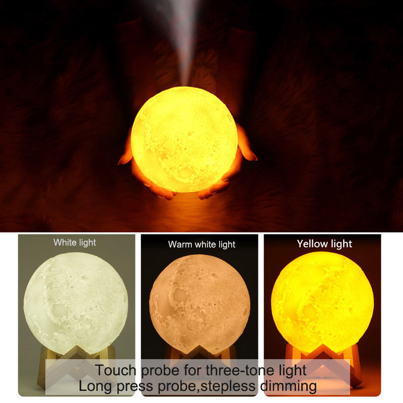 Rechargeable 3d Print Moon Lamp Humidifier 3 Color Change Touch Switch Bedroom Bookcase Night Light Home Decor Creative Gift