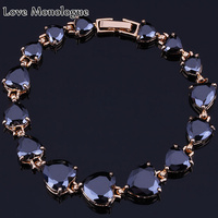 Classic Pave Big Black Sapphire For Women Heart Shaped Bracelets 18K Yellow Gold Plated Chain Bracelets