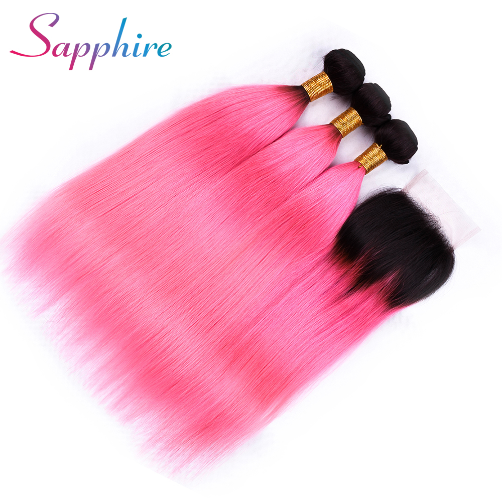 Sapphire Brazilian Human Hair 2 Tone Dark Roots Ombre Hair 3 Bundles With Lace Closure 1B/Pink Straight Color Hair Weft