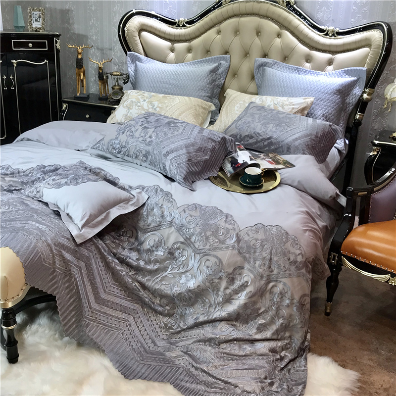 Noble Grey 120S Egyptian cotton Luxury Lace Edge Bedding sets Queen King Royal Duvet cover Bed sheet set Pillowcase 4pcs EuropeNoble Grey 120S Egyptian cotton Luxury Lace Edge Bedding sets Queen King Royal Duvet cover Bed sheet set Pillowcase 4pcs Europe