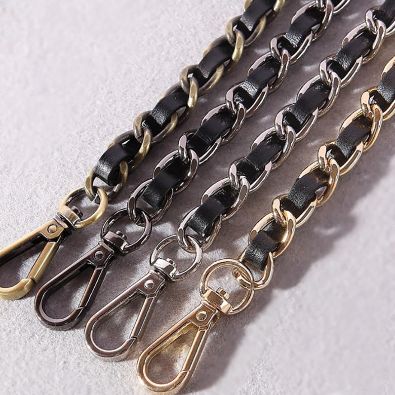 DIY 40cm-140cm Black PU Leather Purse Handle 11mm Replacement Metal Gold, Silver, Bronze, Gun Black Shoulder Bag Chain Straps