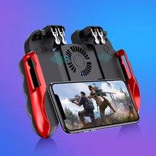 Controle de jogos para celular pubg, joystick com ventilador de refrigeração para iphone, ios, android, gatilho