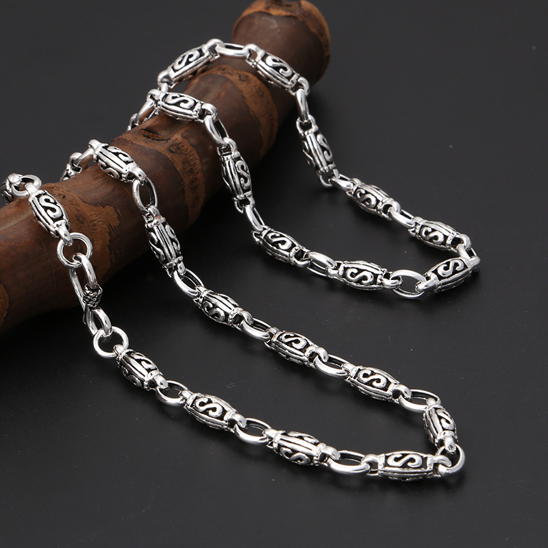 Pur 100% S925 argent sterling classique populaire lettre s motif Vintage hommes et femmes collier Thai argent bijoux livraison gratuite