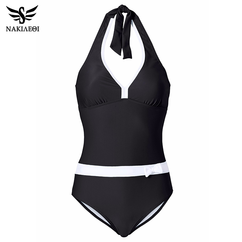 NAKIAEOI 2018 New One Piece Swimsuit Women Vintage Bathing Suits Halter Plus Size Swimwear Sexy Monokini Summer Beach Wear Swim 4