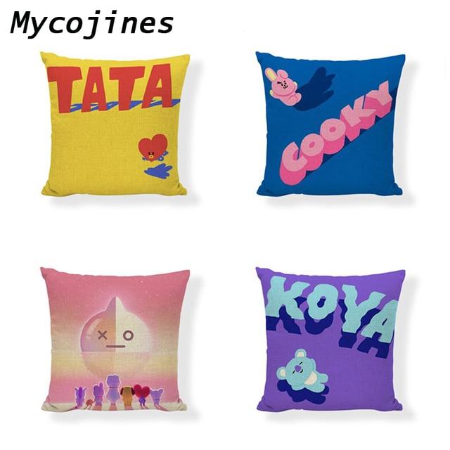 Wholesale Cushion Cover Childhood Memories Cute Pokemon TATA MANG Linen Car Rear Seat Sofa Floor Home Decorative Pillowcase