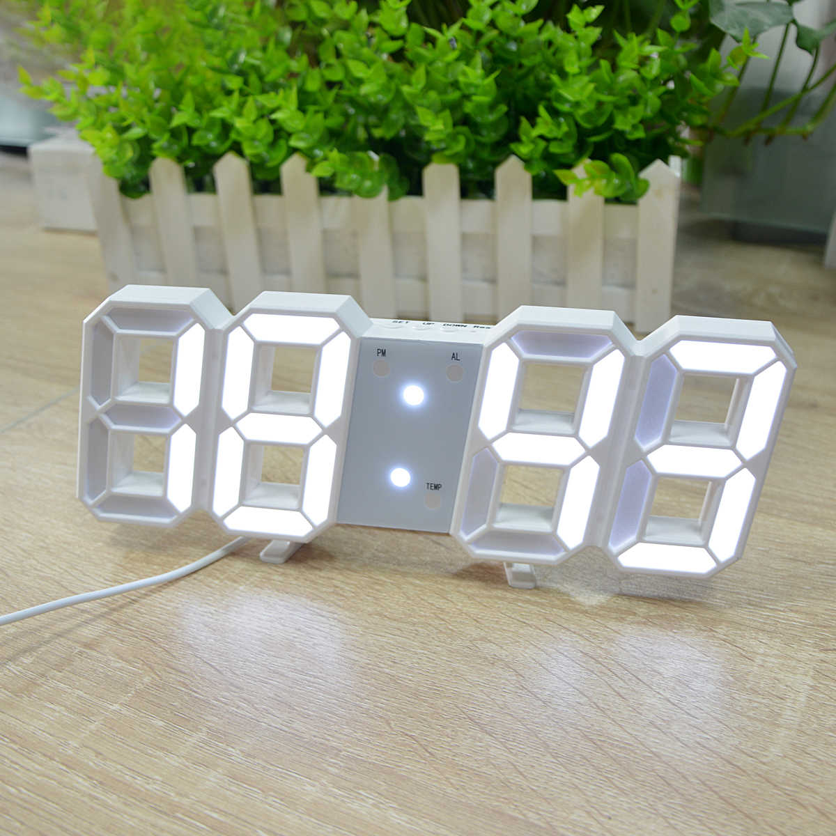 LED Table Lamps Creative Digital Clock Snooze Wake up Light Night Induction Light Temperature Display Bedside Desk Table Lamp