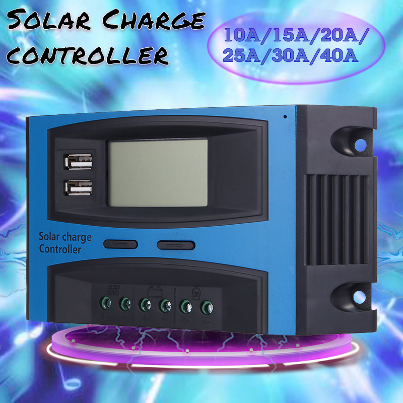 10A 15A 20A 25A 30A 40A 12V 24V Atuo PWM Solar Panel Battery Charge Controller Regulator LCD Solar Collector Regulator USB