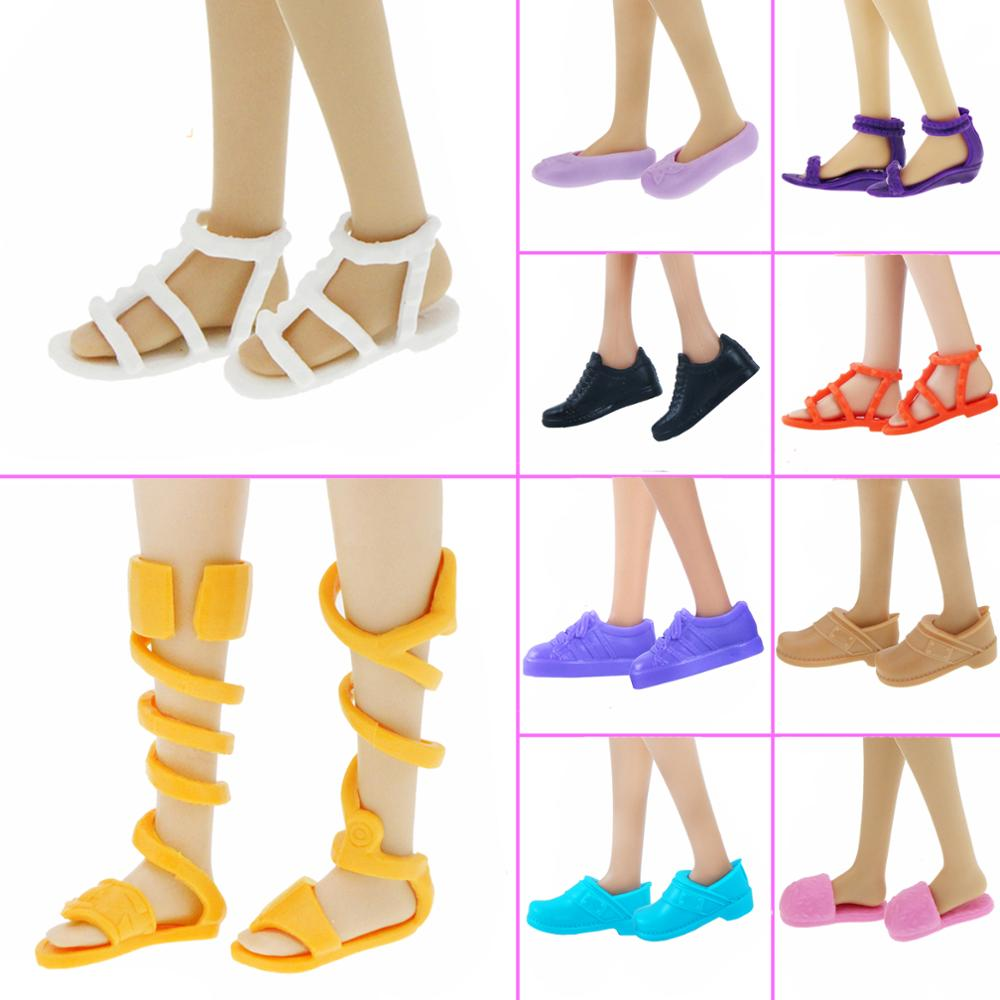 1x Flat Shoes Mixed Summer Sports Sneakers Pumps Casual Daily Cute Sandals Dress Clothes Accessories For Barbie Doll Toy