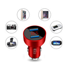 3.1A Dual USB Car Charger 2 Port LCD Display 12-24V Cigarette Socket Lighter Car charger for phone dropship a1(China)
