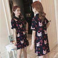 2018 summer women's short sleeve cat print casual t shirt dresses femaele loose plus size dress