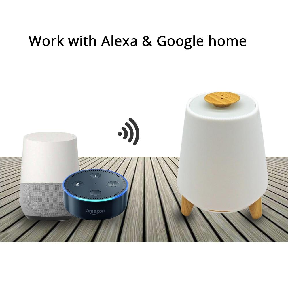Inteligente de aceite esencial difusor de Aroma humidificador fresco de la niebla RGB LED escritorio Lámpara de trabajo con Alexa Google Voz Control de APP