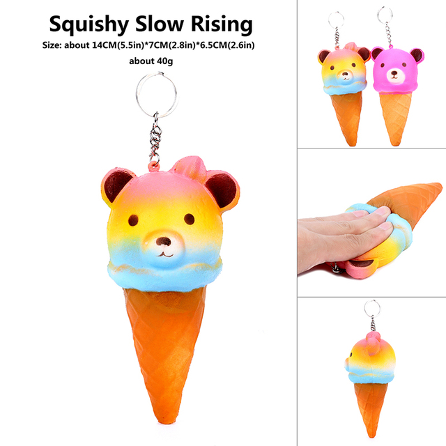 14CM Jumbo Kawaii animal Rainbow Bling Rilakkuma Ice CreamPanda/Bear Squishy Super Slow Rising Soft Phone Strap Bread Cake Toy