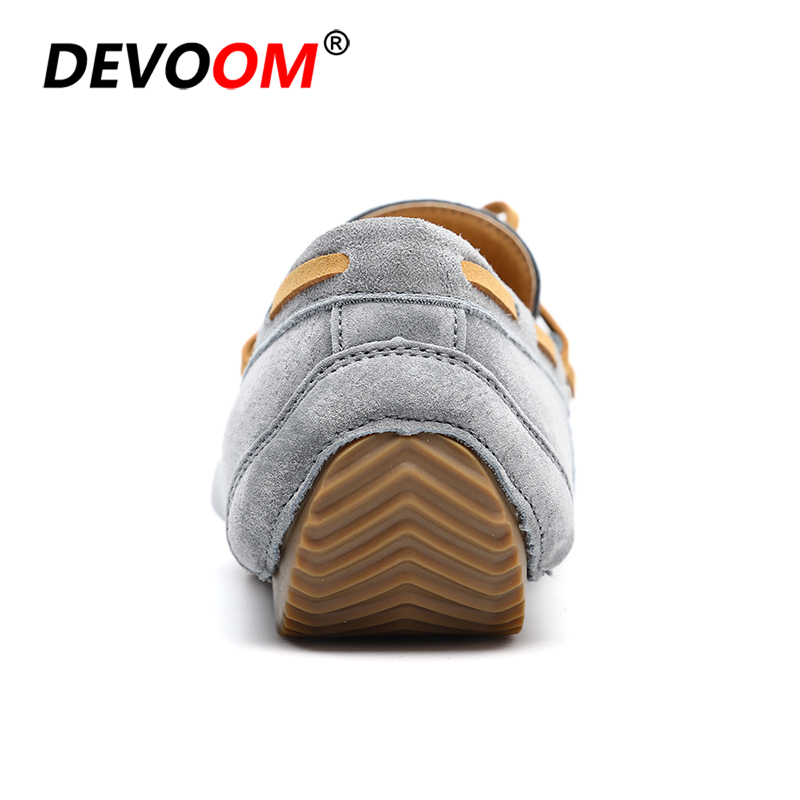Summer Mocasin Genuine Leather Mens Driving Shoes Slip on Retro Loafers Bow Leather Shoes lace Bowtie Upper Suede Leather Casual 4