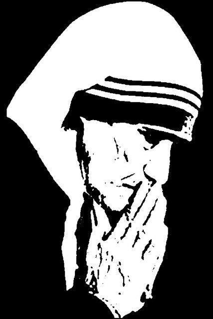Ibu Teresa Gaya Hitam Dan Putih Sketsa Art Poster Print Kain Sutra