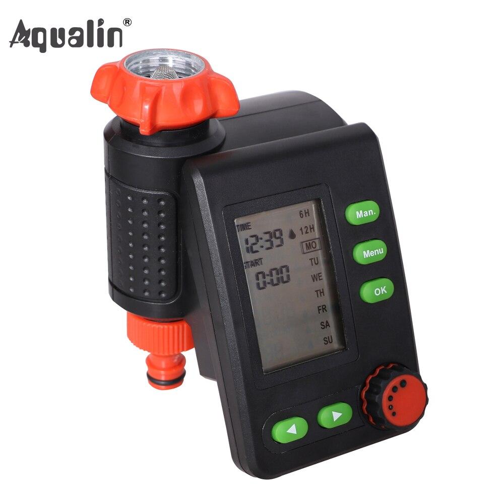 Pantalla grande pantalla LCD válvula solenoide temporizador de Agua UE estándar temporizador de riego Digital jardín hogar controlador #21006