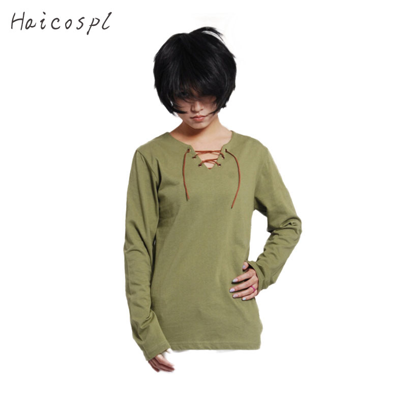 Shingeki No Kyojin Cosplay Costume Eren Jaeger T-shirt Attack On Titan Anime Long Sleeve T shirt Men Boy Thin Casual Tee Green