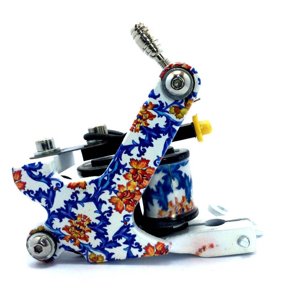 Free Shipping New Custom Carved Tattoo Machine blue-white porcelain style Liner Shader Tattoo GunFree Shipping New Custom Carved Tattoo Machine blue-white porcelain style Liner Shader Tattoo Gun