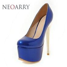 Neoarry европейские модные женские туфли из лакированной кожи Большой Размеры 30-48 16 см высокие каблуки Насосы Свадебные Вечерние туфли на платформе JT133