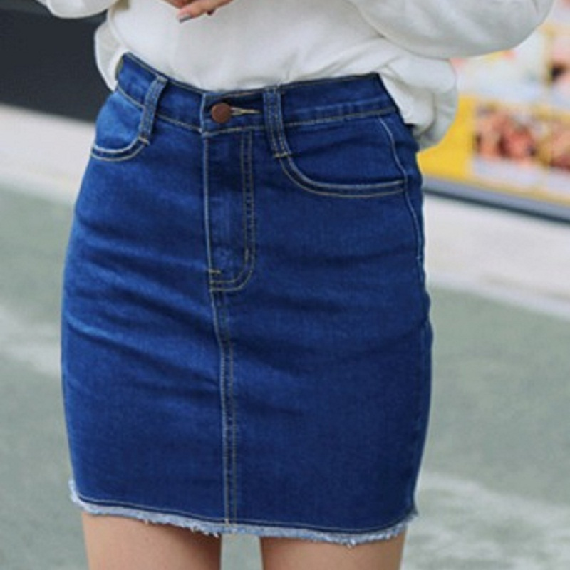 Korean Solid Button Pencil Jeans Skirts Women Summer Streetwear Mini High Waist Blue Skirts Female 2018