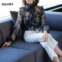 Women Tops and Blouse 2018 Spring Summer High Quality Woman Bow Collar Silk Flower Print Sexy 2 Piece Long Sleeve Shirt Blouse