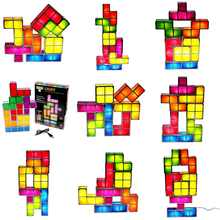[DBF]DIY Tetris Puzzle Novelty LED Night Light Stackable LED Desk Table Lamp Constructible Block Kids Toy's Light Christmas Gift
