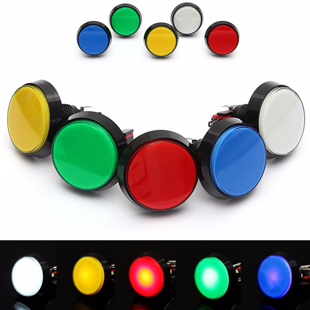 5 Colors Led Light Lamp 60mm Big Round Arcade Video Game