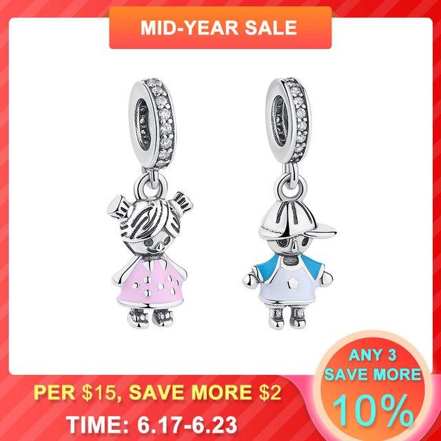 BELAWANG 100% 925 Sterling Silver Couple Little Boy Charm fit Pandora Charm Bracelet Little Girl Silver Jewelry Making