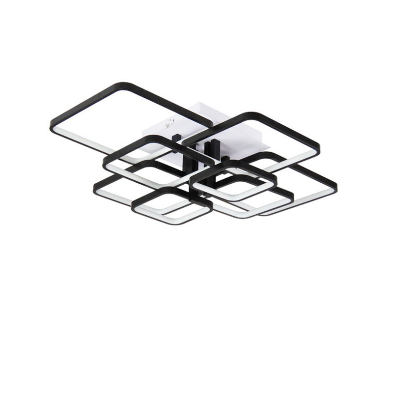 Modern LED Ceiling Lights For Dining Living Room Lamp Kitchen Fixture Bedroom With Remote Black Home