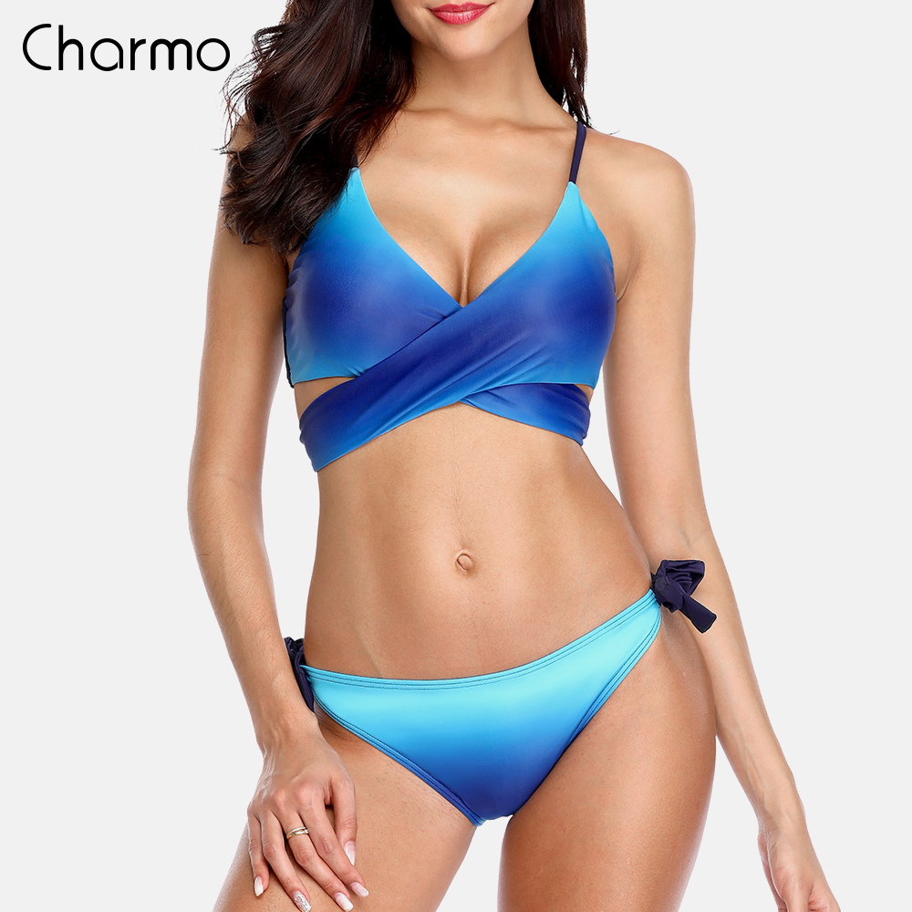 Charmo Women Bikini Set Swimwear Gradient Cross Swimsuit Tied Bandage Bathing Suit Beachwear cross front side knot bikini