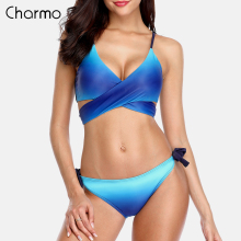 Charmo Women Bikini Set Swimwear Gradient Cross Swimsuit Tied Bandage Bathing Suit Beachwear Bikini cross front side knot bikini knot front side tie ribbed bikini set