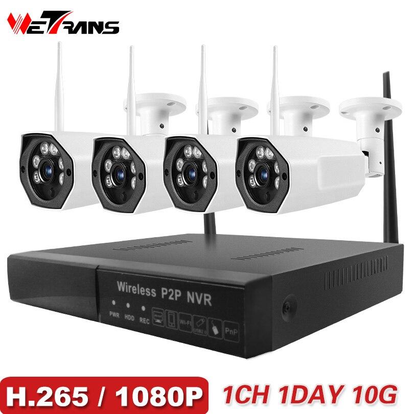 Wetrans CCTV Système de Caméra 2018 Nouveau 1080 p HD H.265 Sécurité IP Caméra Extérieure Wifi NVR Kit Vidéo Surveillance Sans Fil cam Ensemble