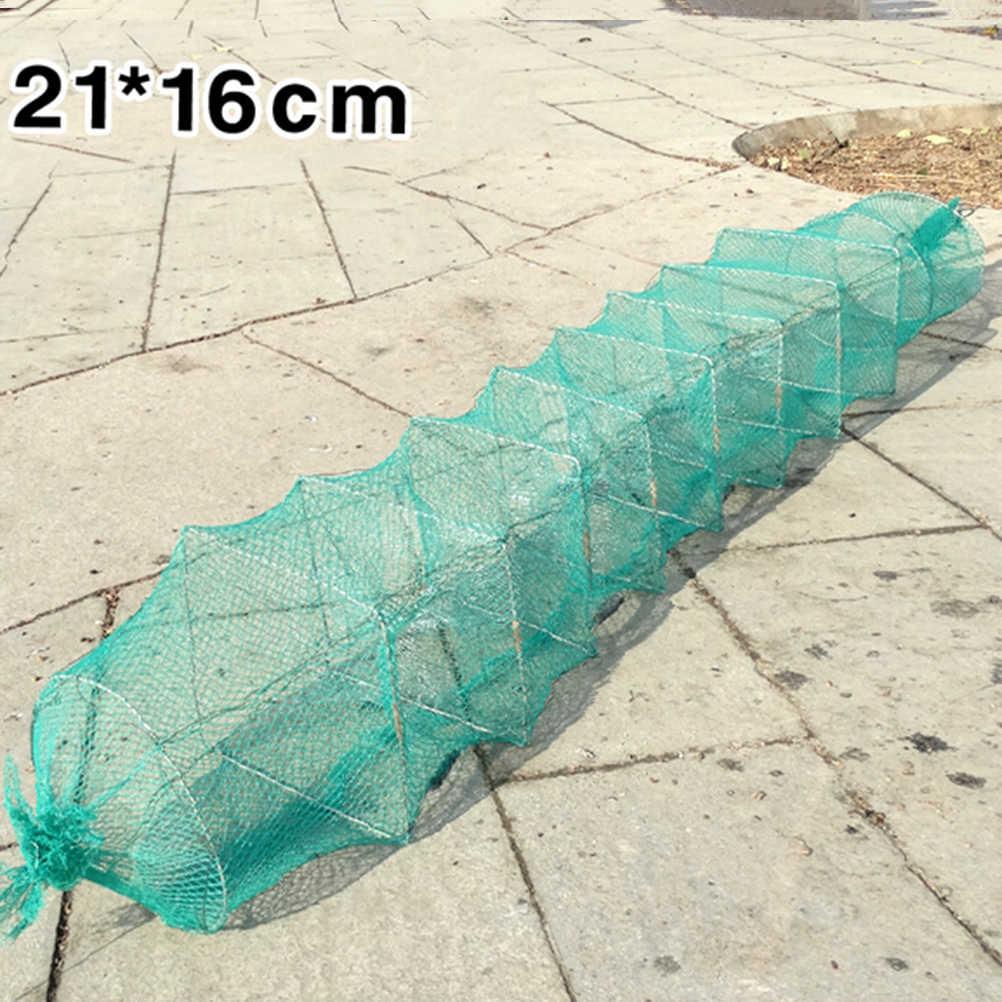 11 intervalli di Pesca Pieghevole Crab Gamberi Lobster Catcher Trappola Pot Pesce Anguilla Netto Gamberi Gamberetti Esche Vive Reti di Nylon