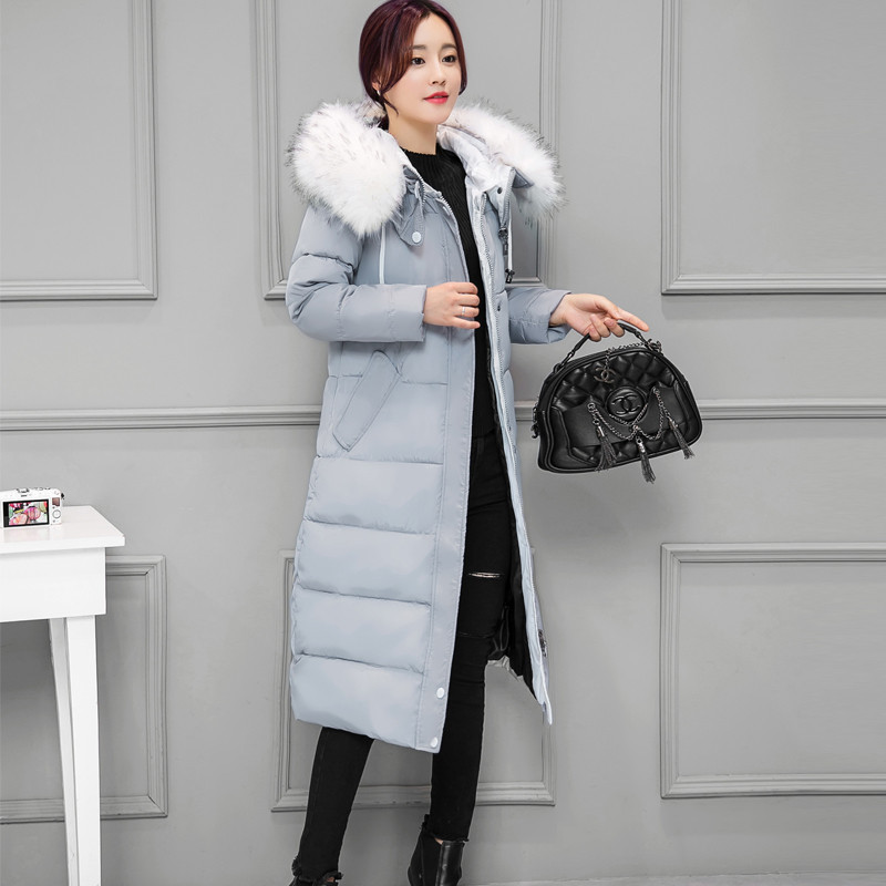 2017 Winter New Women Plus Size Down & Parkas Long Jacket Korean Thick Slim Warm Fur Collar Hooded Cotton Coat Female Black Gray