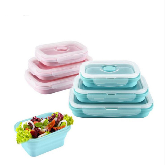 Silicone Collapsible Portable Lunchbox Bowl Bento Boxes Folding Food