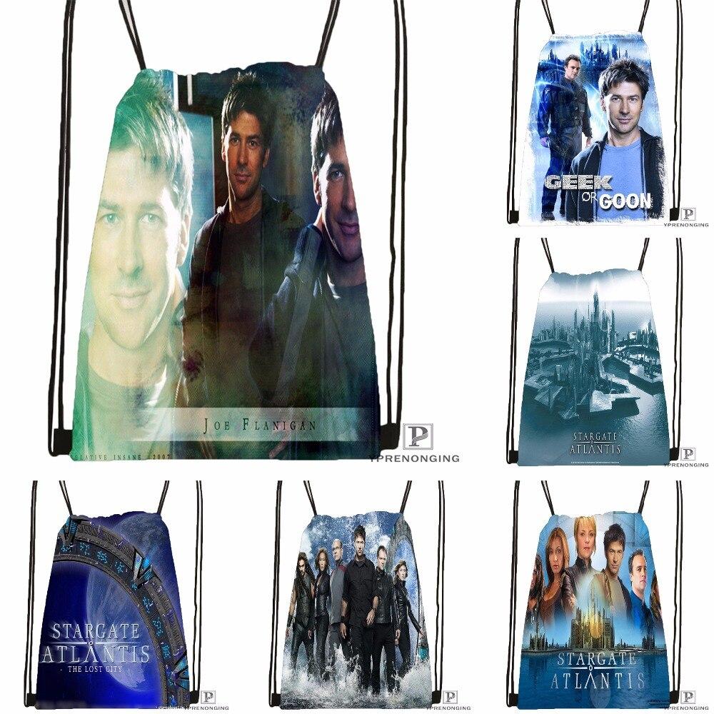 Custom Stargate Atlantis Drawstring Backpack Bag Cute Daypack Kids Satchel (Black Back) 31x40cm#180531-02-53