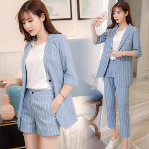 Korean fashion work pant suits 2 piece set 2019 summer thin striped Blazer jacket + shorts or trouser office lady suits femino