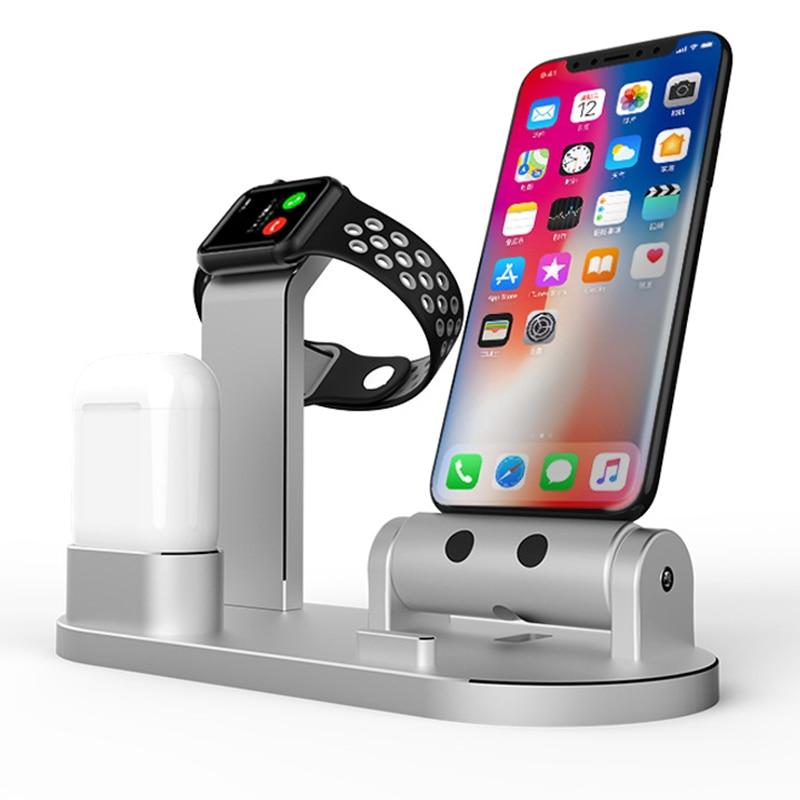 3 en 1 sans fil écouteurs alliage support de charge pour Apple Watch pour AirPods Station de charge chargeur rapide pour iPhone X/8 8 plus