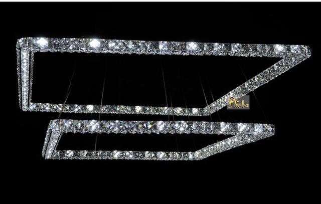 phube lighting led rectangle chandelier light modern crystal lustre