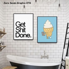 07G A5 A4 A3 A2 decoración pintura en lona imagen divertida del baño hacer caca helado pared arte póster decoración del hogar